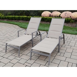 2 Sydney Padded Sling Stackable Chaise Lounges