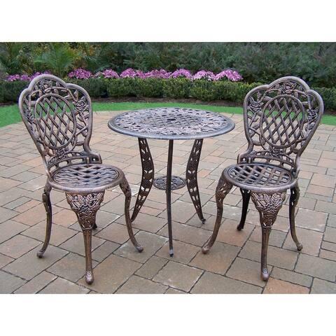 Camellia Antiqued Bronze Cast Aluminum 3-piece Bistro Set