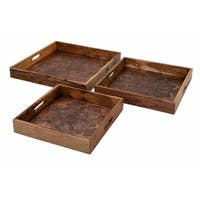 Cecilia Copper Embossed Decorative Trays - Set of 3