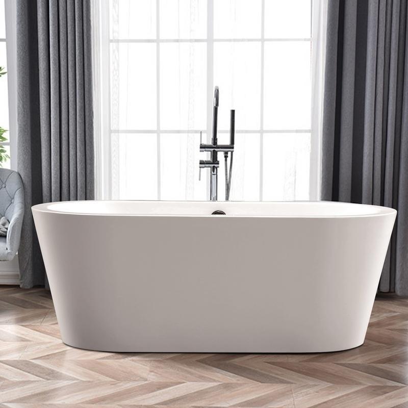 Vanity Art White Acrylic 59-inch Oval Freestanding Soakin...