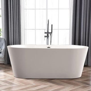 Vanity Art Freestanding White Acrylic Bathtub Modern Stand Alone Soaking Tub with Polished Chrome Round Overflow & Pop-up Drain
