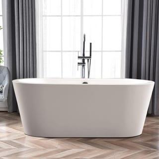 "Vanity Art 59.1"" Freestanding Acrylic Bathtub Modern Stand Alone Soaking Tub with Polished Chrome Round Overflow & Pop-up Drain"