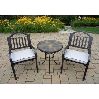 Hometown 3 Pc Stone Bistro Set with 2 Cushioned Chairs and Table