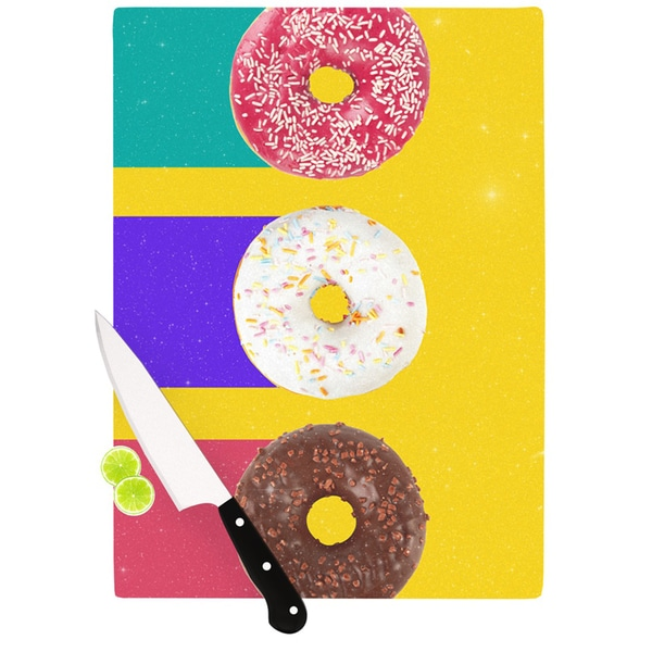 Kess InHouse Danny Ivan 'Donuts' Multicolored Glass Cutting Board