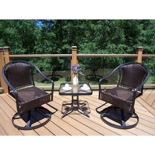 Sedona Outdoor Coffee Wicker 3-piece Rocker and Side Table Set
