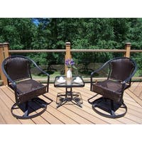 Sedona Outdoor Coffee Wicker 3-piece Rocker and Side Table Set
