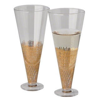 Crosshatch Clear/ Gold Glass Champagne Flute