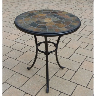 Oakland Living Corporation Hometown Natural Stone and Metal 24-inch Round Bistro Table