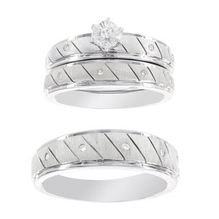 H Star Platina 4 Diamond 1/7ct Men's and Women's Engagement Bridal Set (I-J, I2-I3)