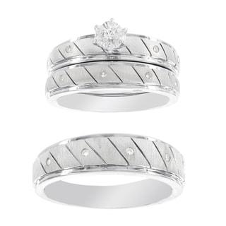 H Star Platina 4 Diamond 1/7ct Men's and Women's Engagement Bridal Set