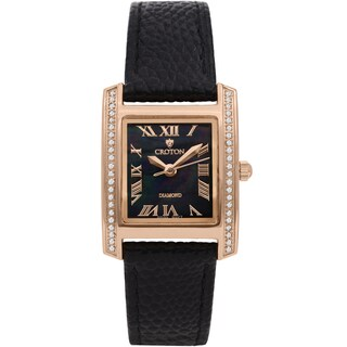 Croton Ladies CN207057RGBK Leather Black Diamond Case Watch