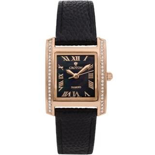 Croton Ladies CN207057RGBK Leather Black Diamond Case Watch