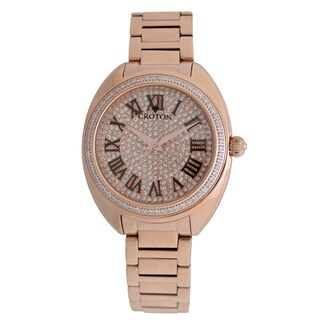 Croton Ladies CN207564RGPV Stainless Rosetone Swiss Quartz with Set CZ Bezel and Pave Dial Watch