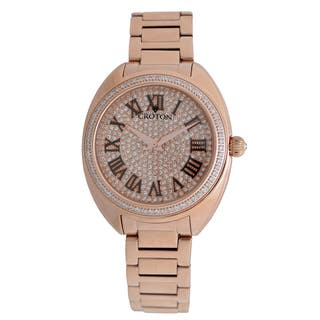 Croton Ladies CN207564RGPV Stainless Rosetone Swiss Quartz with Set CZ Bezel and Pave Dial Watch|https://ak1.ostkcdn.com/images/products/13140656/P19868853.jpg?impolicy=medium
