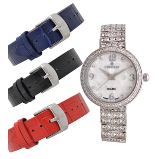 Croton Ladies CN207555RHMP Stainless Steel Silvertone Set CZ Watch Set with Interchangeable Leather strap