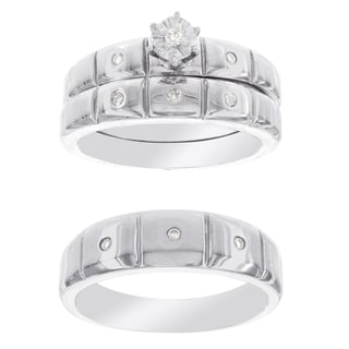 H Star Platina 4 Diamond 1/8ct Men's and Women's Engagement Trio Bridal Set (I-J, I2-I3)