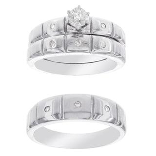 H Star P4 Diamond 1/8ct Men's and Women's Engagement Trio Bridal Set