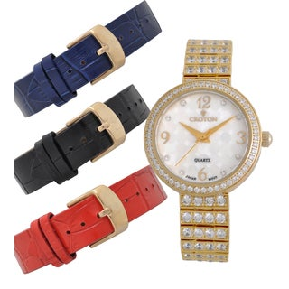 Croton Ladies CN207555YLMP Goldtone Set CZ Watch Set with Interchangeable Leather strap
