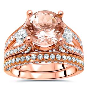 Noori 14k Rose Gold 3ct TGW Morganite and 1 1/2ct TDW 3-stone Diamond Engagement Ring Set (G-H, SI1-SI2)