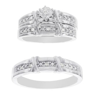 H Star Platina 4 Diamond 1/7ct Diamond Men's and Women's Engagement Trio Set (I-J, I2-I3)