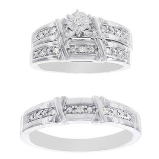 H Star Platina 4 Diamond 1/7ct Diamond Men's and Women's Engagement Trio Set