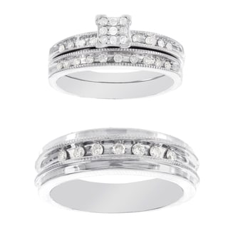 H Star Platina 4 Diamond 1/3ct Men's and Women's Engagement Trio Bridal Set (I-J, I2-I3)