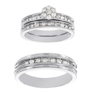 H Star Platina 4 Diamond 1/2ct Men's and Women's Engagement Trio Bridal Set (I-J, I2-I3)