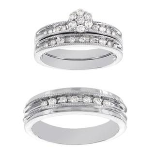 H Star Platina 4 Diamond 1/2ct Men's and Women's Engagement Trio Bridal Set