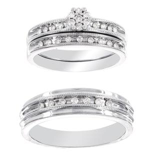 H Star Platina 4 Diamond 1/3ct Men's and Women's Engagement Trio Bridal Set