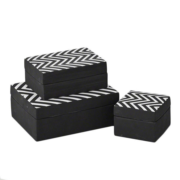 Chevron Matte White Black Ceramic Decorative Box