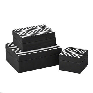 Chevron Matte White/Black Ceramic Decorative Box