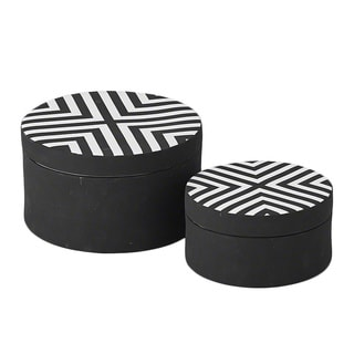 Matte Black/ White Chevron Small Round Box