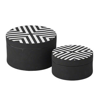 Matte Black/ White Chevron Large Round Box