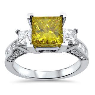 Noori 14k White Gold 2 1/2ct TDW Yellow Princess Diamond 3-stone Engagement Ring (G-H, SI1-SI2)