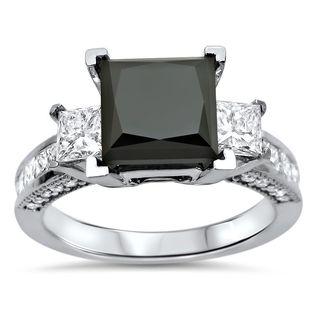 Noori 14k White Gold 3 7/8ct TDW Black Princess-cut Diamond 3-stone Engagement Ring