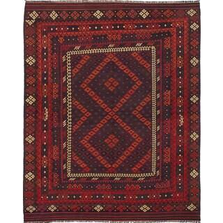 ecarpetgallery Hand-Woven Kashkuli Red Wool Kilim (8'1 x 10'0)