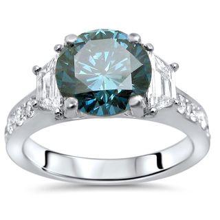 Noori 18k White Gold 2 7/8ct TDW Blue Round Diamond Trapezoid Engagement Ring (G-H, SI1-SI2)