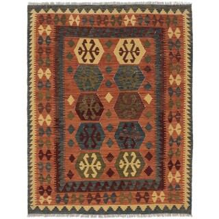 eCarpetGallery Sivas Brown Handwoven Wool Kilim (5'1 x 6'6)
