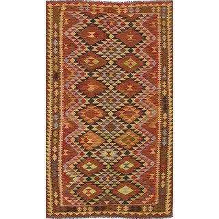 eCarpetGallery Anatolian Kilim Oriental Ivory/Red Wool Hand-woven Area Rug (5' x 8'6)