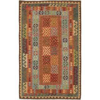 eCarpetGallery Izmir Kilim Oriental Red Wool Hand-woven Area Rug (5'1 x 8'2)