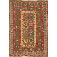 ecarpetgallery Hand-Woven Anatolian Kilim Green, Red  Wool Kilim (5'7 x 8'5)