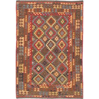 ecarpetgallery Hand-Woven Sivas Red  Wool Kilim (5'1 x 7'6)