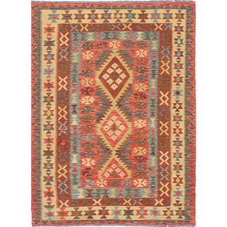 eCarpetGallery Anatolian Kilim Red Handwoven Wool Kilim (5'3 x 6'11)