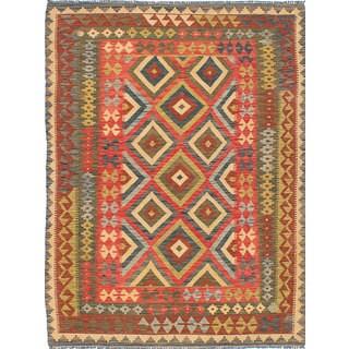 ecarpetgallery Hand-Woven Istanbul Yama Kilim Red Wool Kilim (5'0 x 6'9)