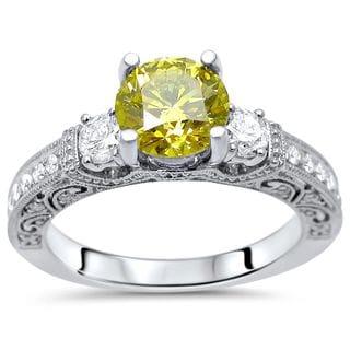 Noori 18k White Gold 1 1/2ct TDW Canary Yellow 3-stone Diamond Engagement Ring