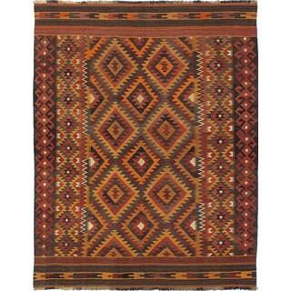 eCarpetGallery Handwoven Kashkuli Orange/Red Wool Kilim Rug (6'9 x 8'8)
