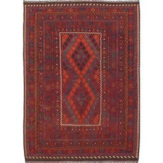 ecarpetgallery Hand-Woven Kashkuli Red Wool Kilim (6'9 x 9'6)