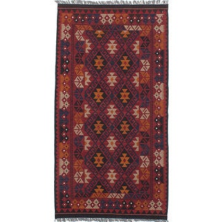 eCarpetGallery Kashkuli Black/Cream/Dark Blue/Dark Orange/Dark Red/Light Grey Wool Hand-woven Kilim Rug (3'5 x 6'7)