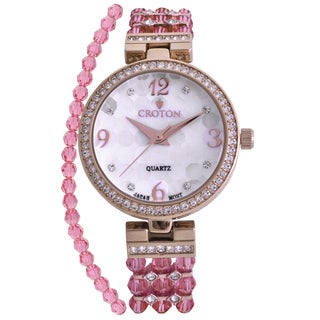Croton Ladies CN207563RGPK Pink Swarovski Element Bead Watch with Austrian Crystal and Coordinated Bracelet