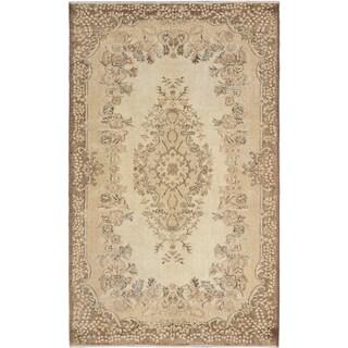 eCarpetGallery Anatolian Sunwash Yellow Wool Hand-knotted Area Rug (5'9 x 9'2)